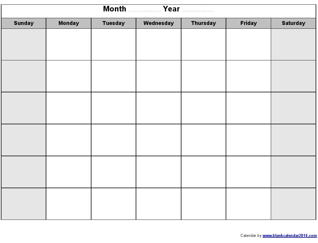 Blank Monthly Calendar 2014 Printable