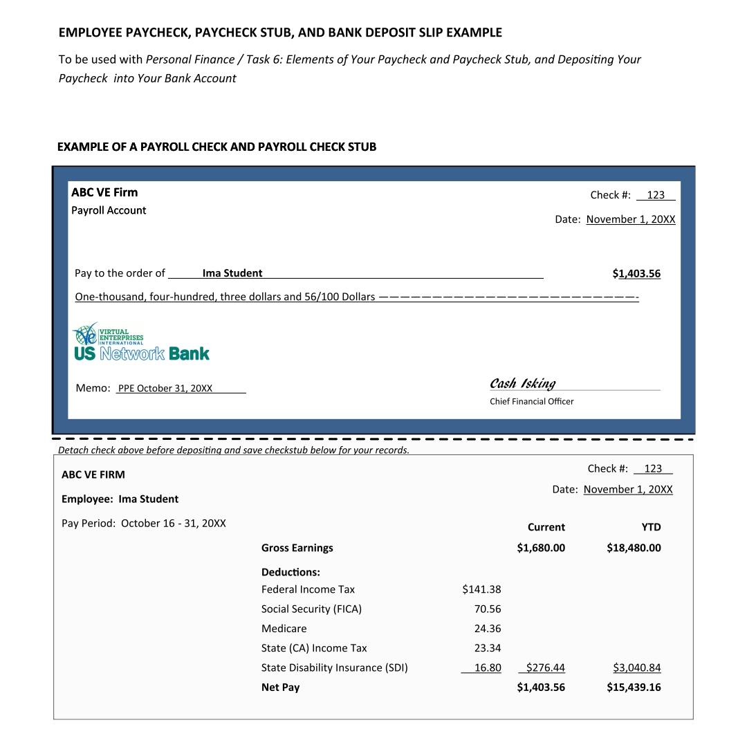 Blank Payroll Check Stub Template