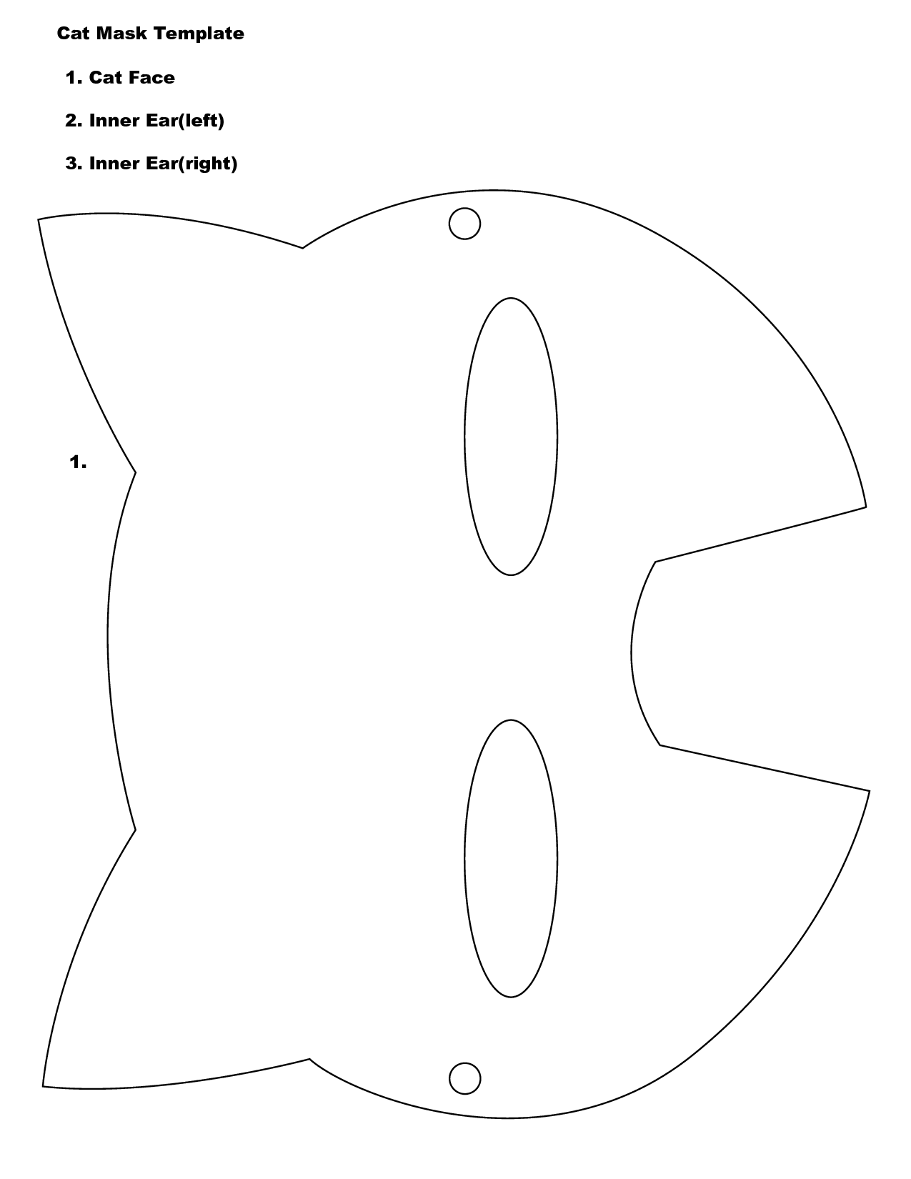 5 best images of cat face template printable printable for Caterpillar mask template