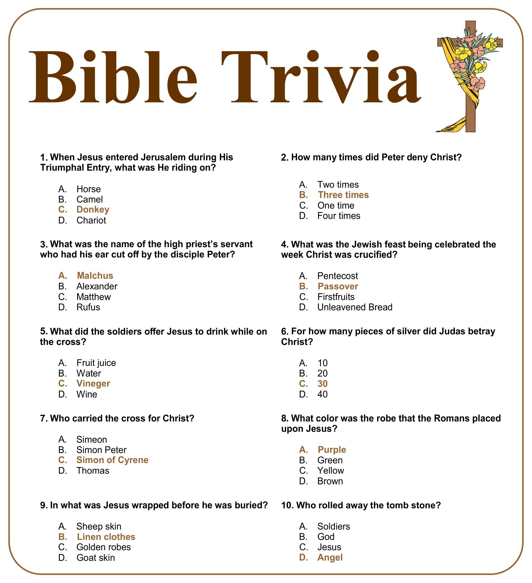 4 Images of Printable Christmas Bible Trivia