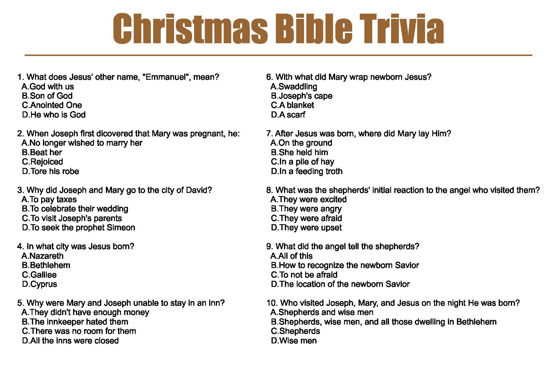 Christmas Bible Trivia Questions Printable