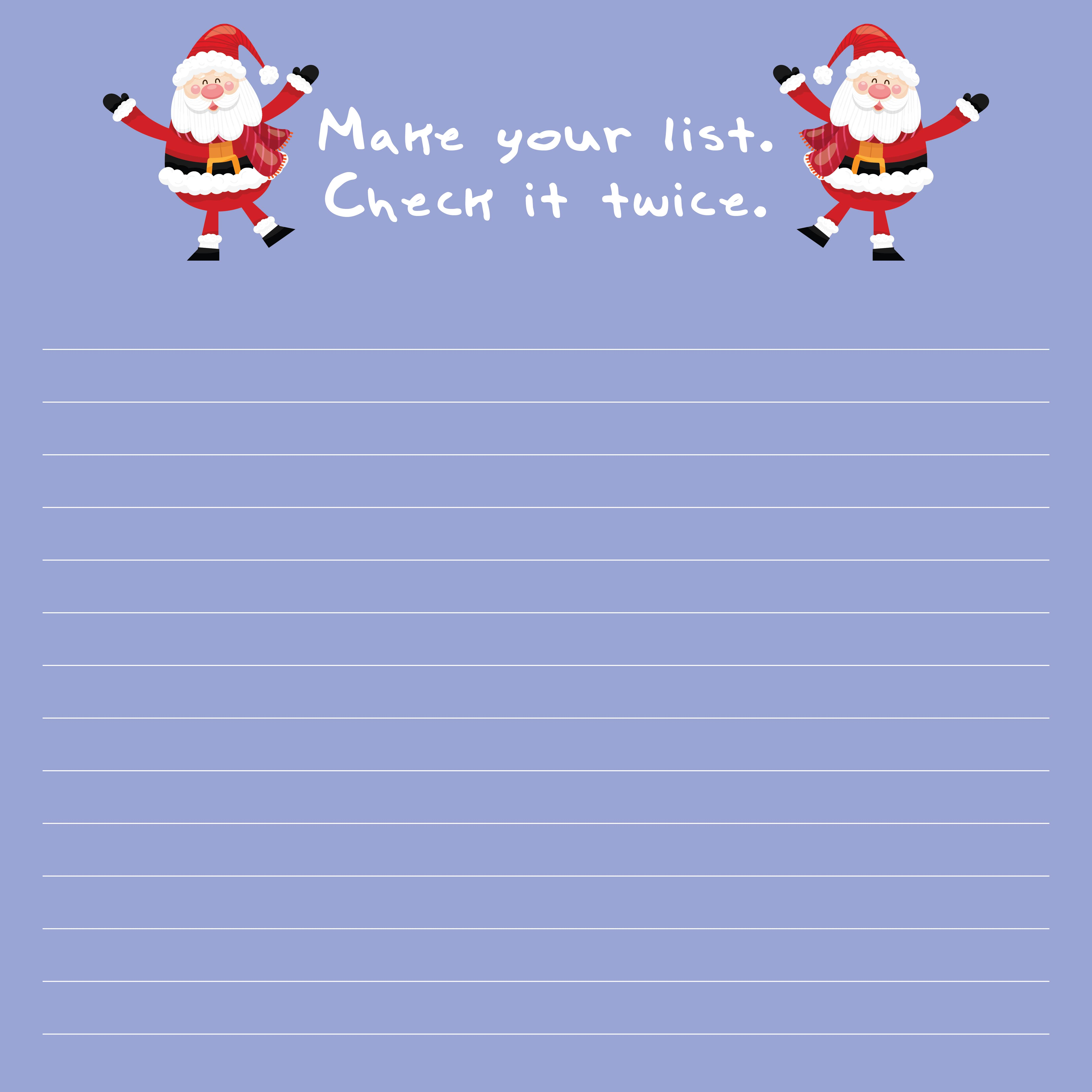 christmas list format – Printable Christmas List Template