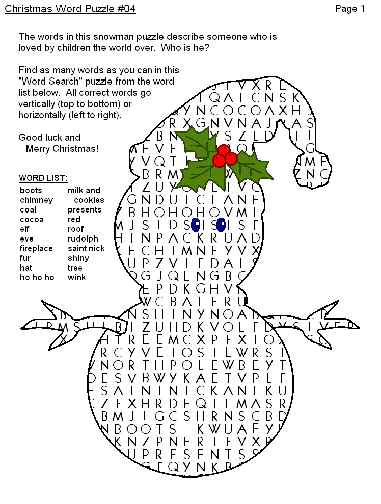 4 Images of Free Printable Christmas Word Puzzles