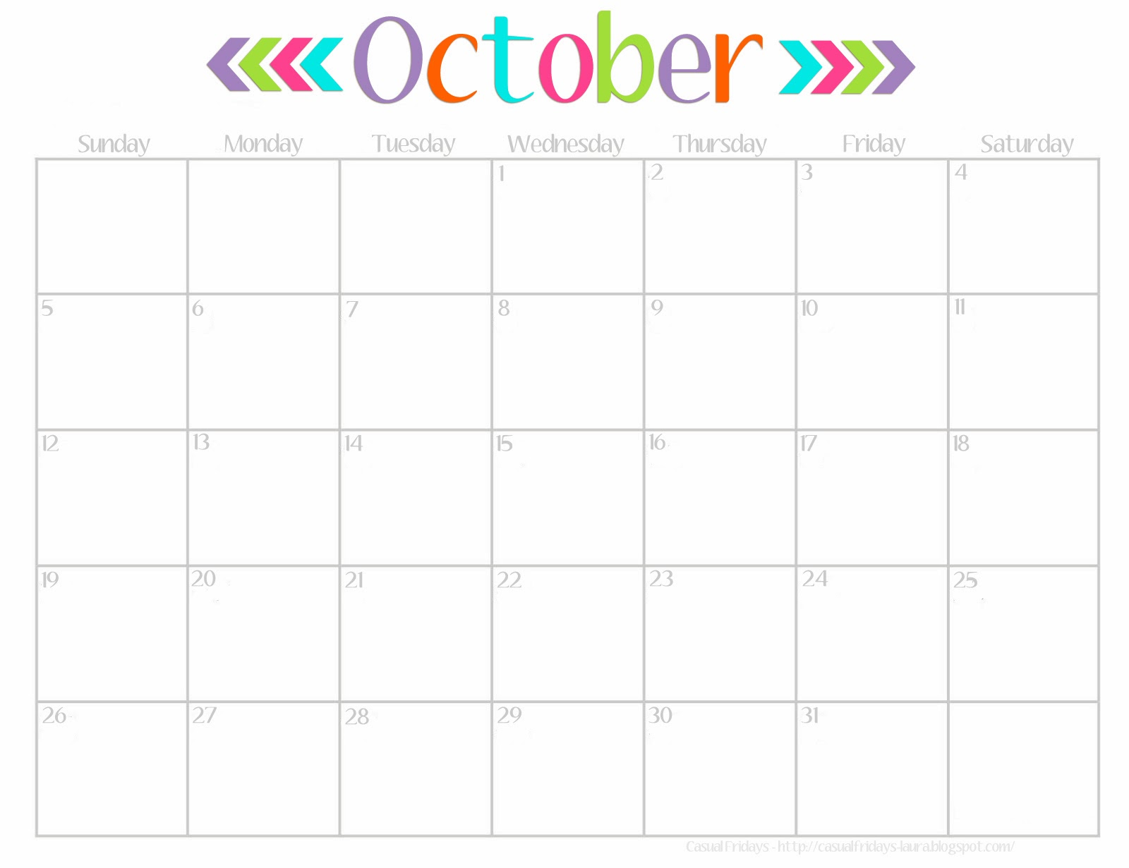 5 Images of Cute Wall Calendar 2015 Printable October