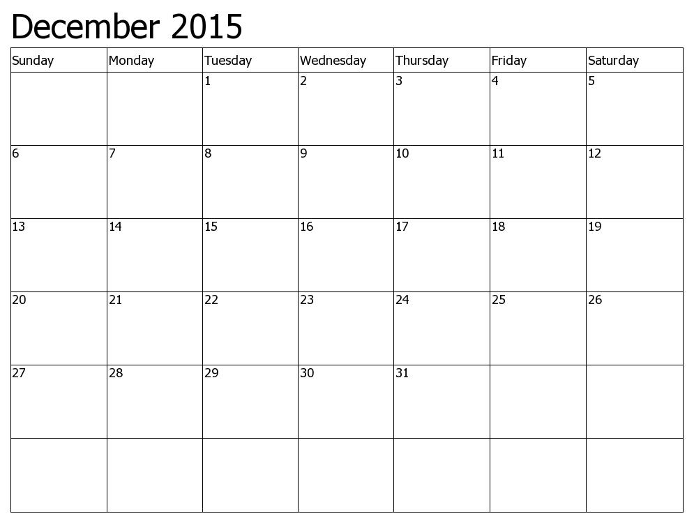 December 2015 - Free Cute Printable June 2015 Calendar, December ...