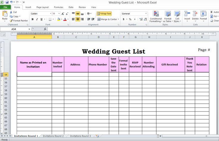 wedding guest list template printable