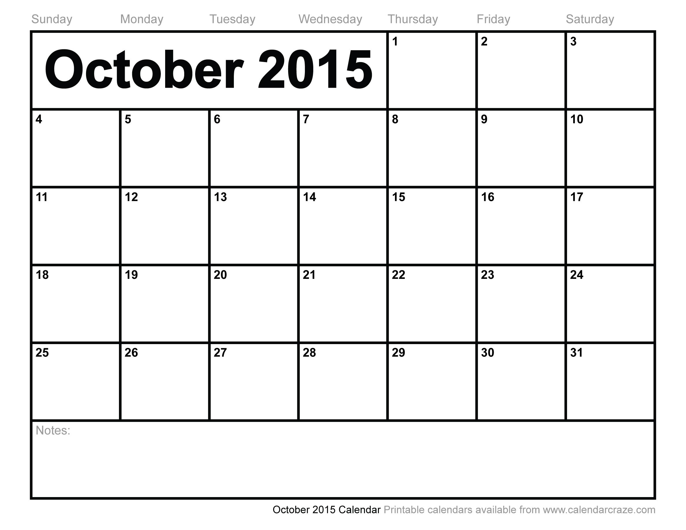 8 Images of November 2015 Calendar Printable October