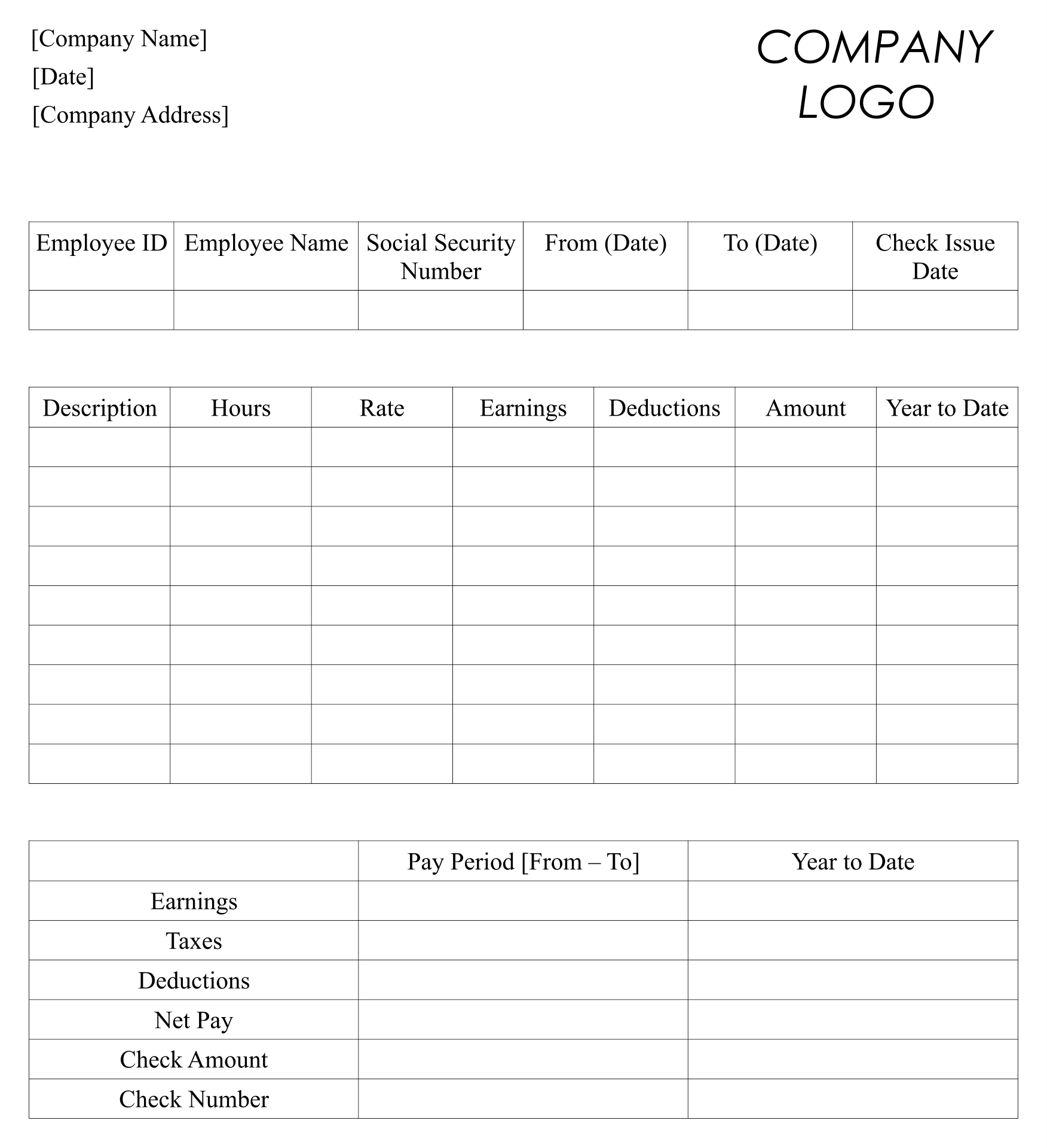 checkstub template - 8 best images of free printable blank paycheck stubs
