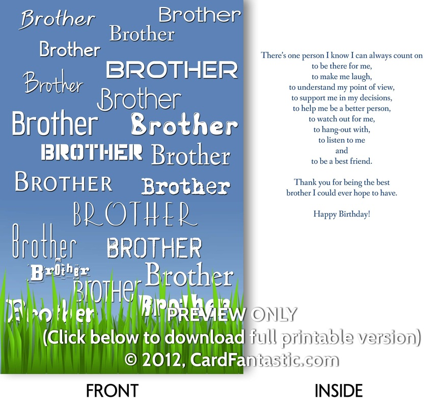 8 Images of Free Printable Birthday Cards For Brother