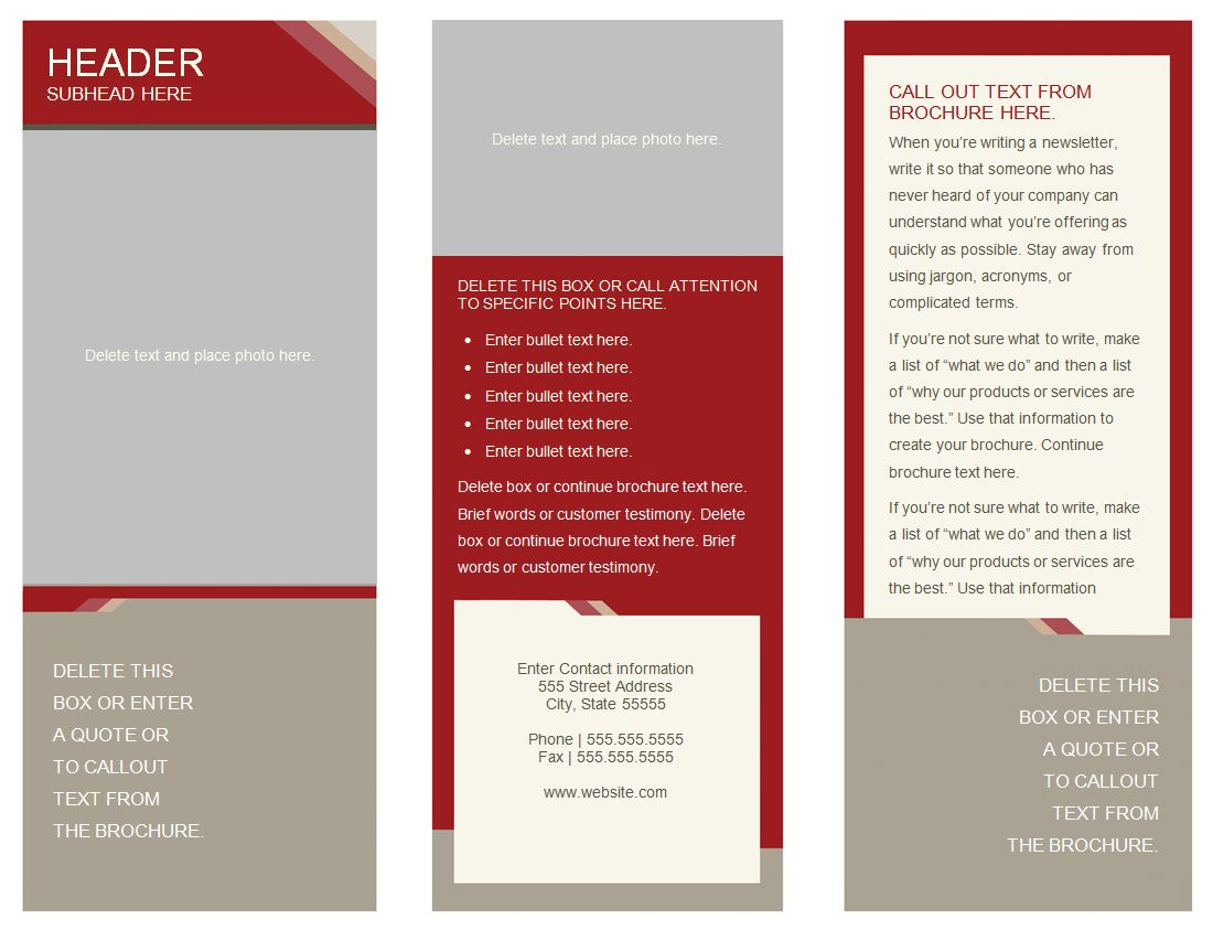 brochure samples templates 6 best images of free printable brochure templates online