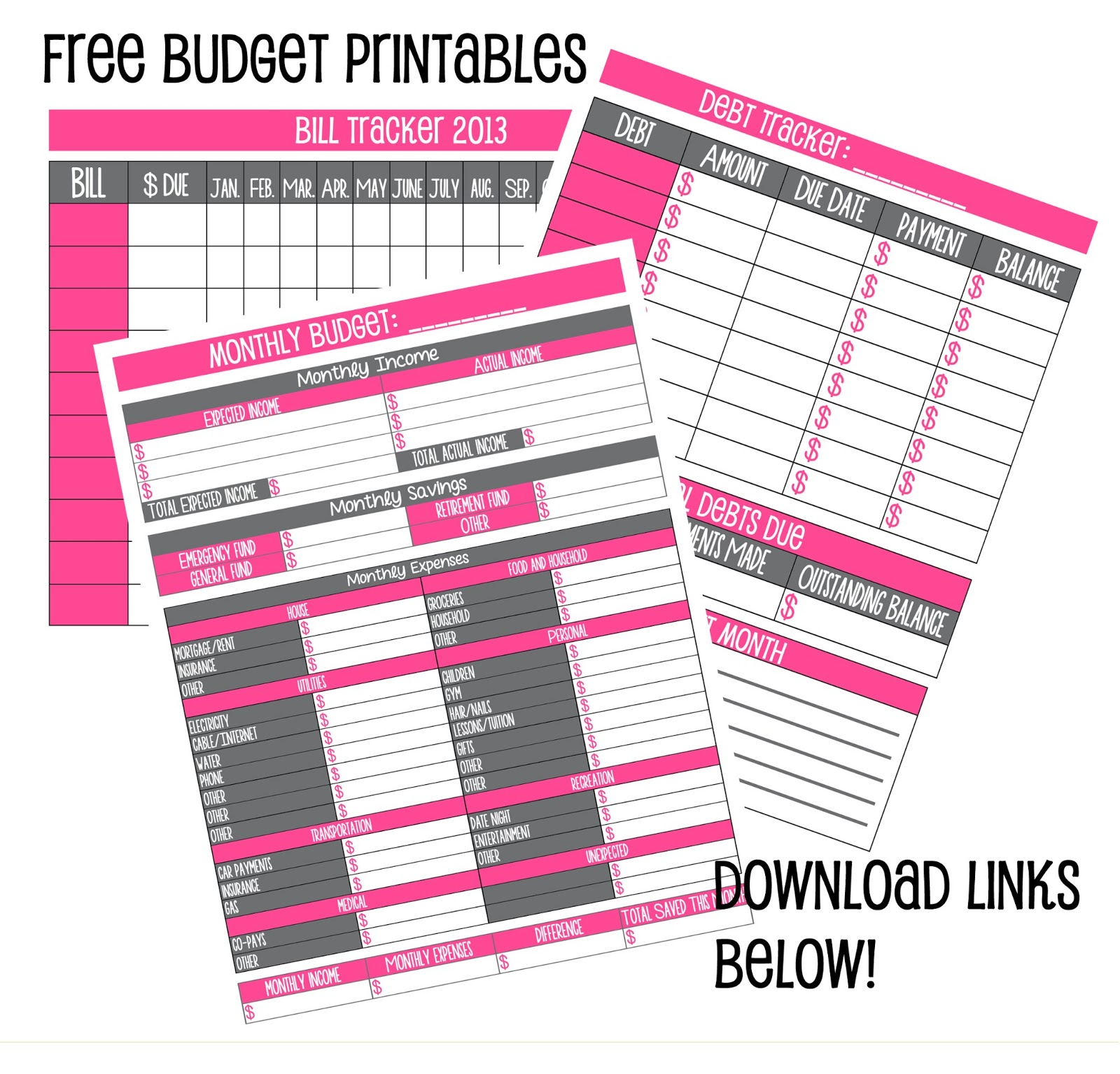 5 Images of Cute Budget Printables