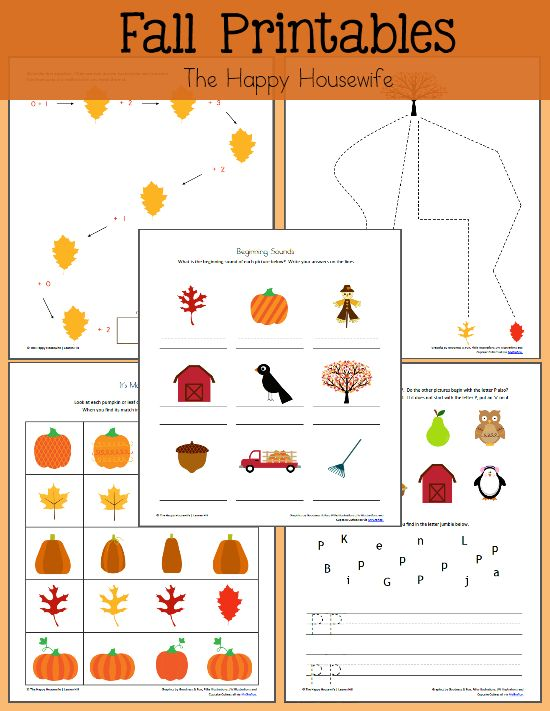 4 Images of Free Printable Autumn Worksheets