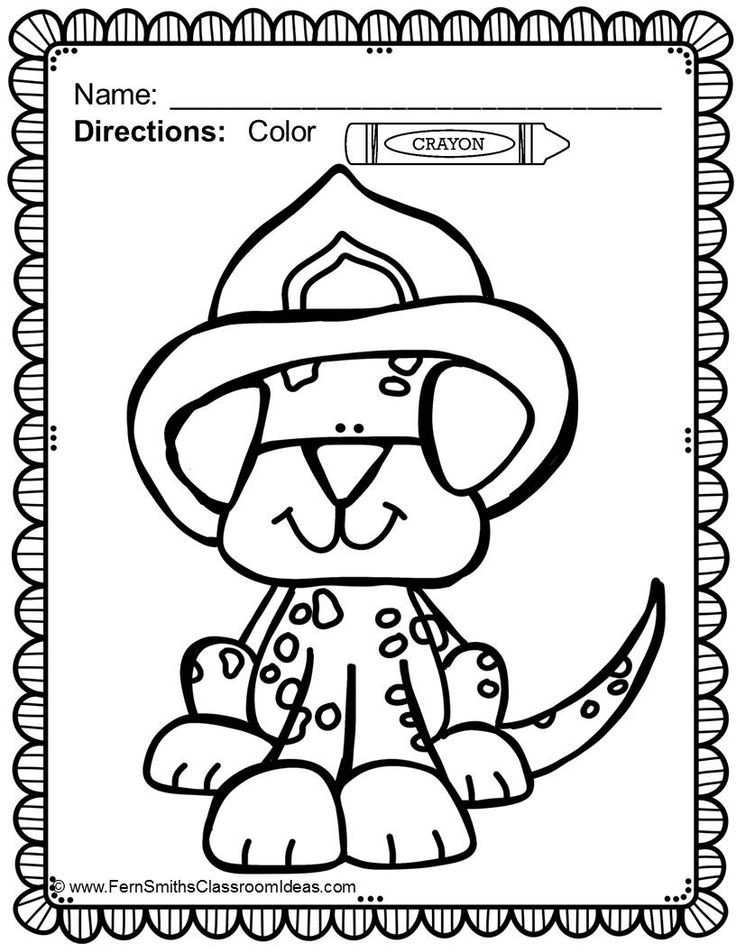 5 best images of fire dog printable for preschool fire for Printable fire safety coloring pages