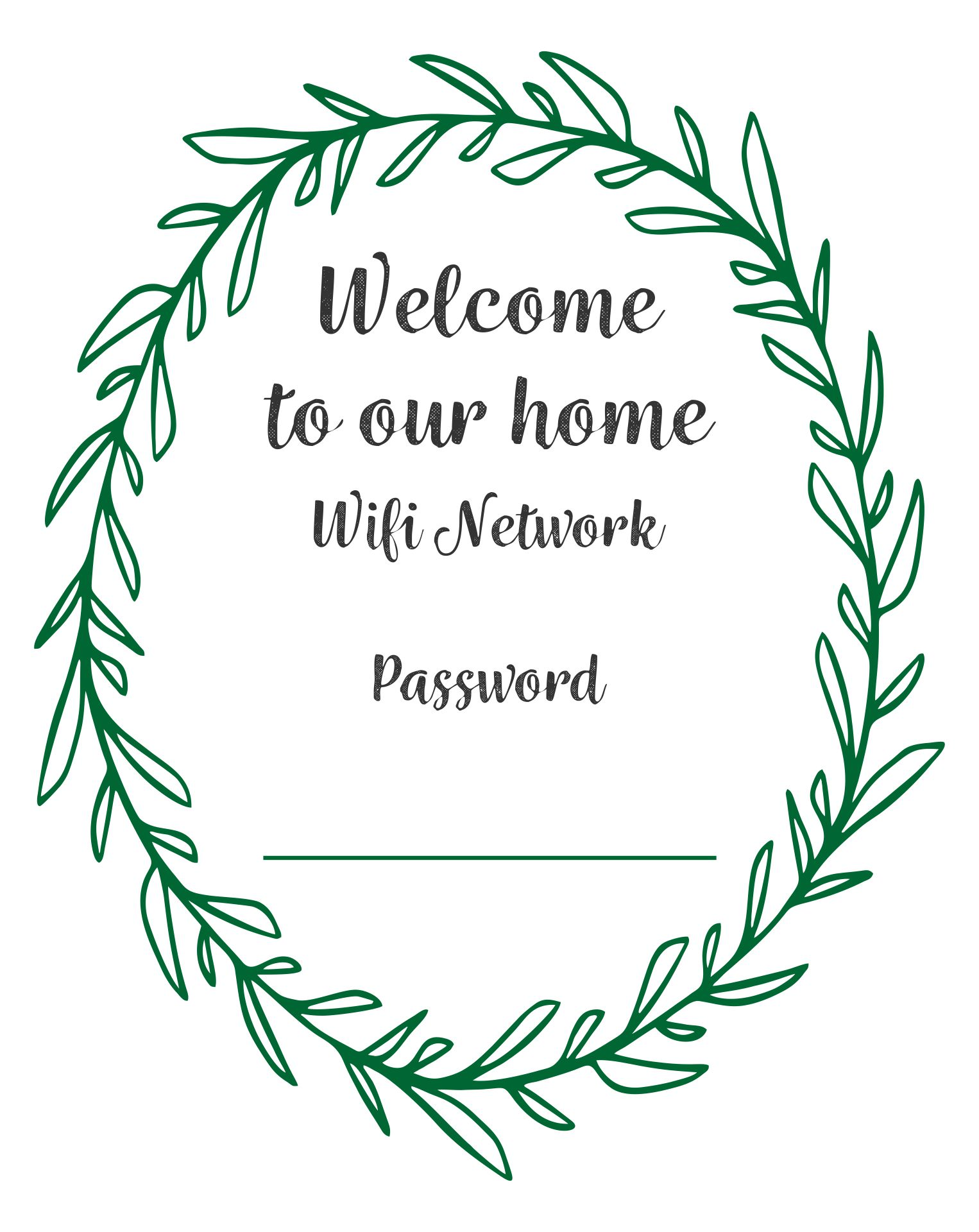 Free Printable Guest Wifi Password