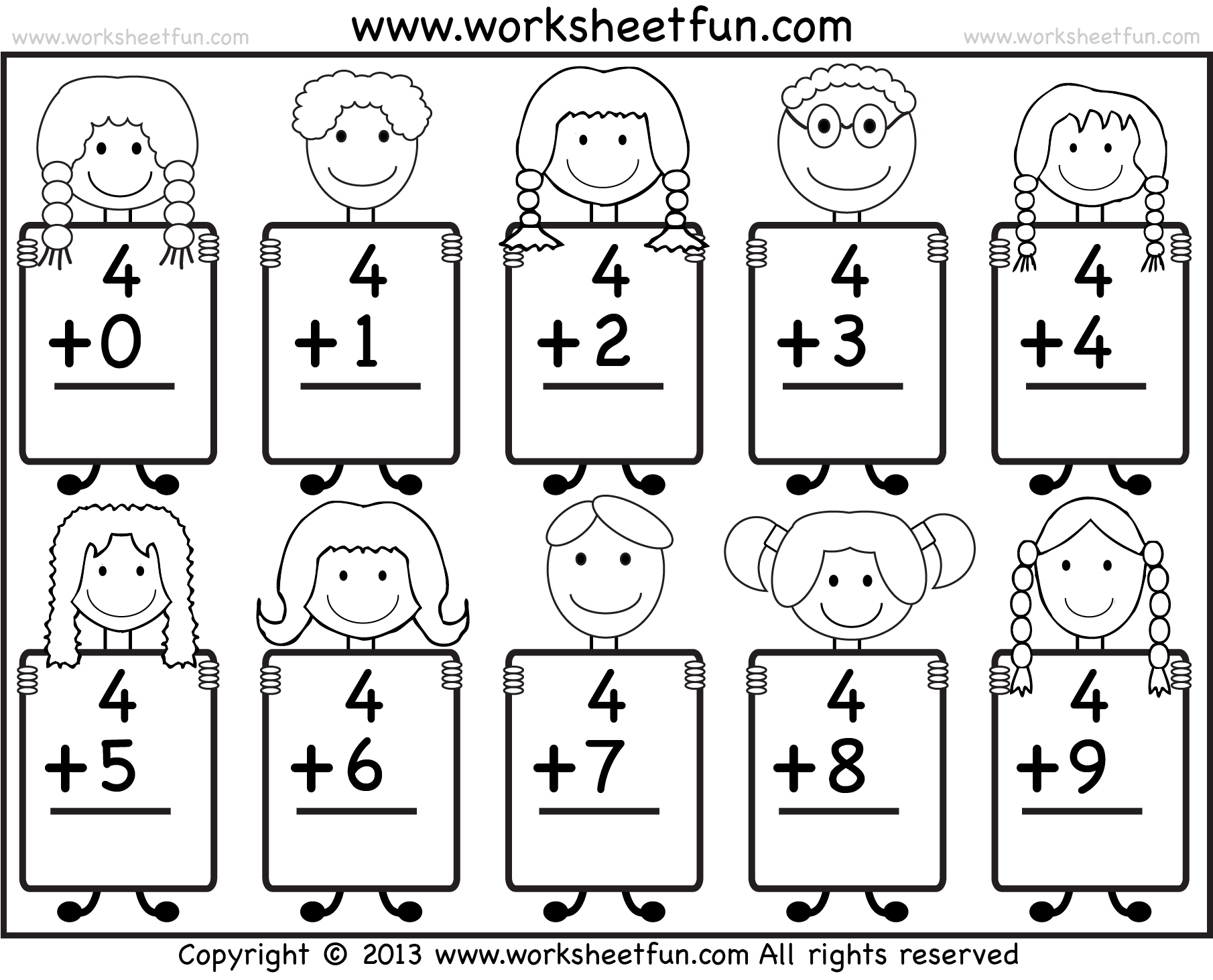 math worksheet : addition math worksheets for kindergarten  worksheets on study  : Printable Addition Worksheet