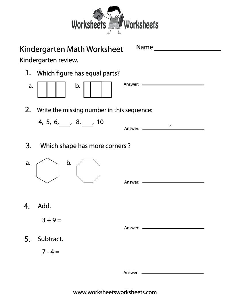 math worksheet : 9 best images of kindergarten practice worksheets free printable  : Practice Worksheets For Kindergarten