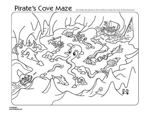 4 Images of Pirate Maze Printable
