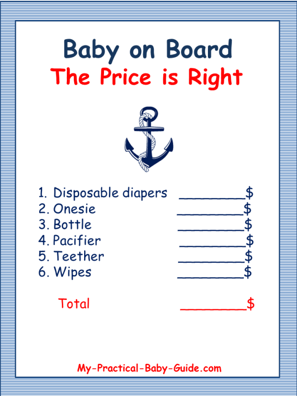 8 Images of Free Printable Nautical Baby Shower Games Price Is Right