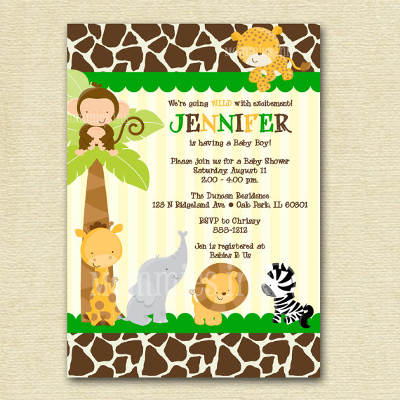 6 Images of Printable Safari Baby Shower Invitations