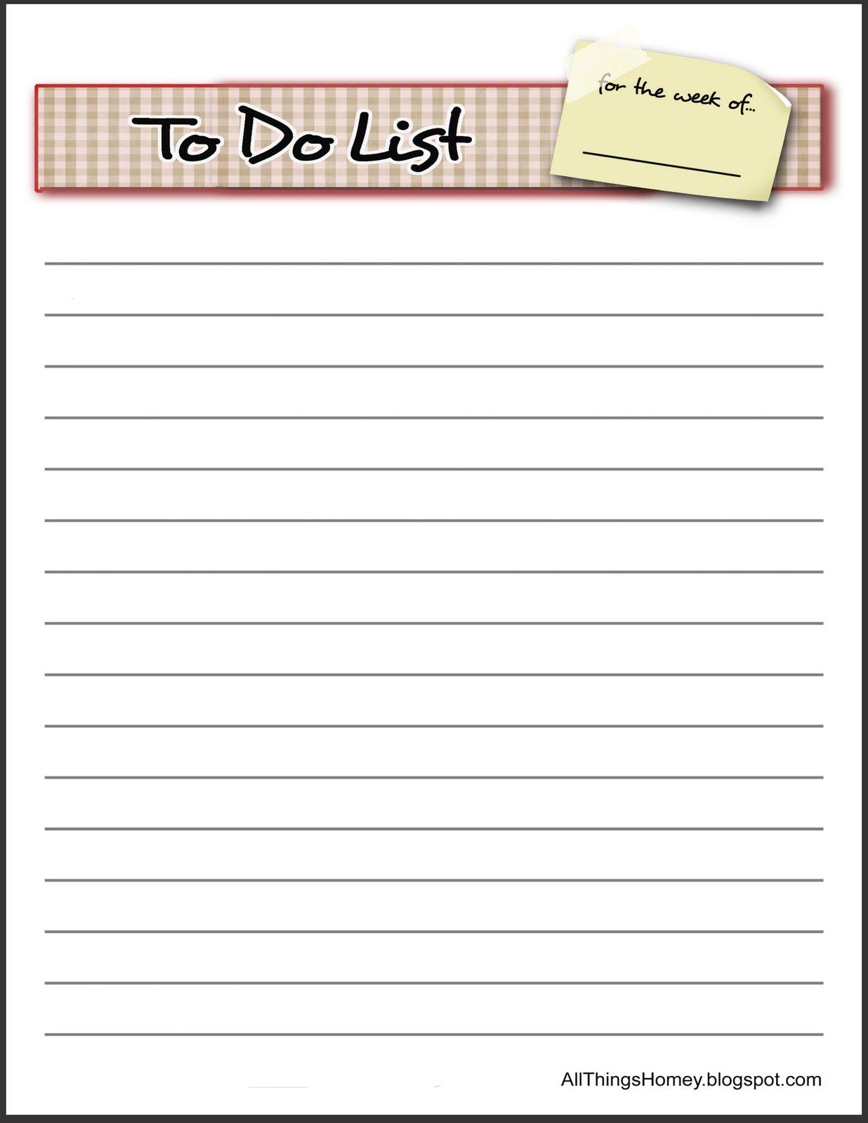 things to do lists printable