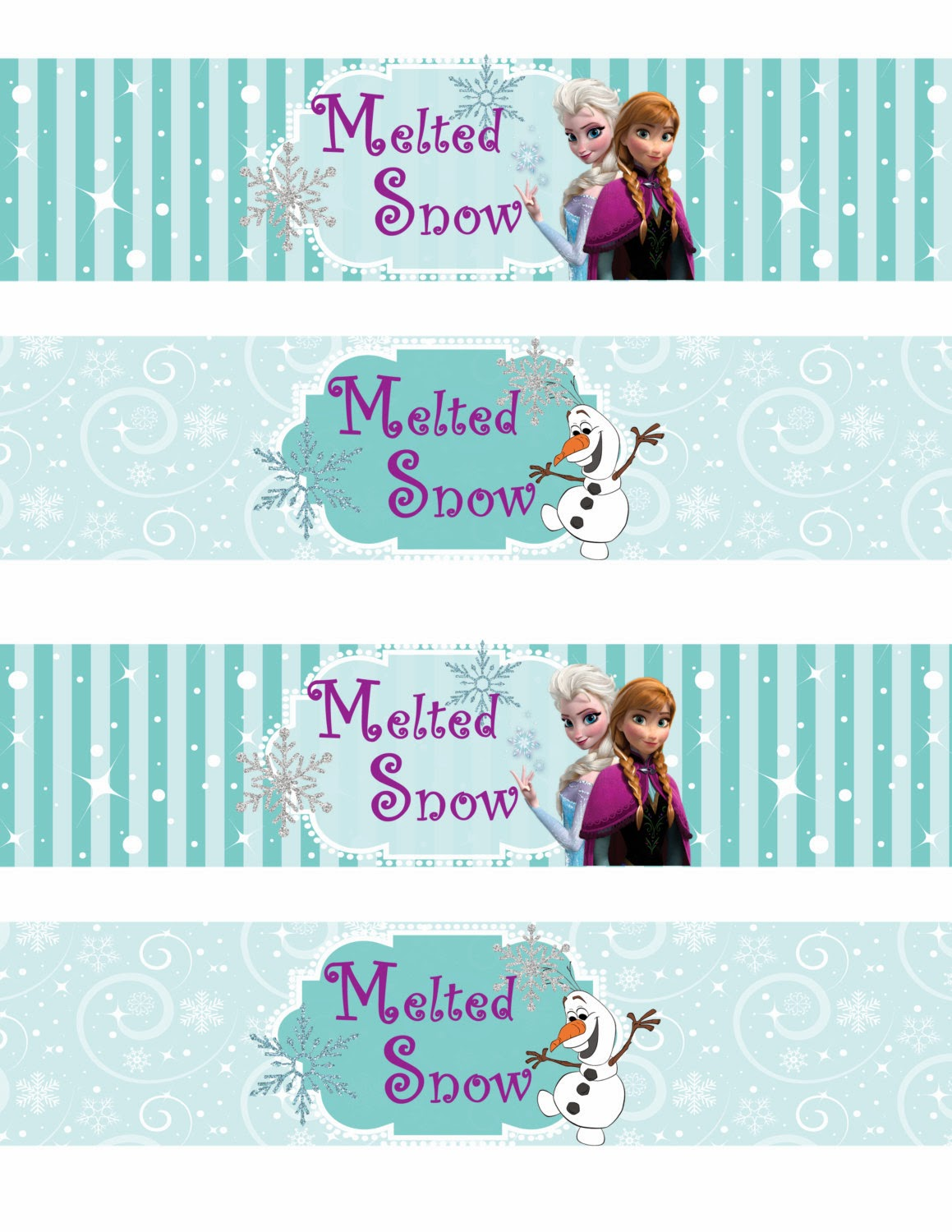 Frozen Water Party Label Printables Free