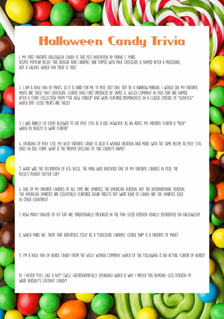 Halloween Candy Trivia Questions Printable