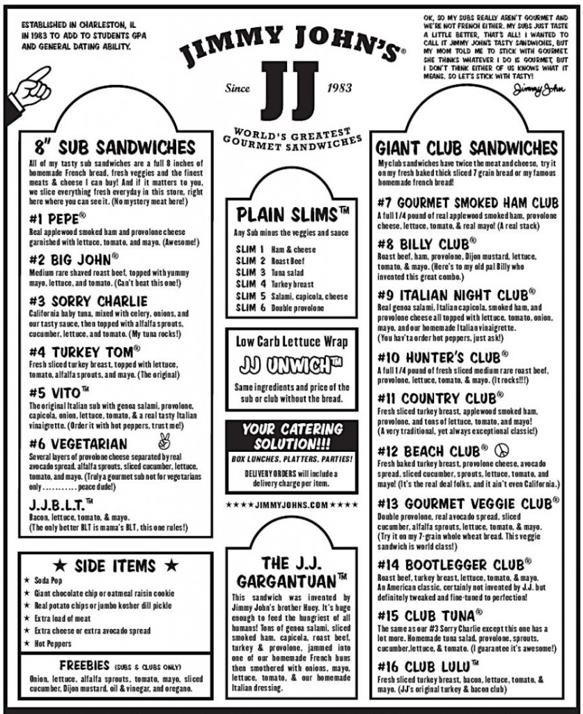 8 Images of Jimmy John's Menu With Prices Printable