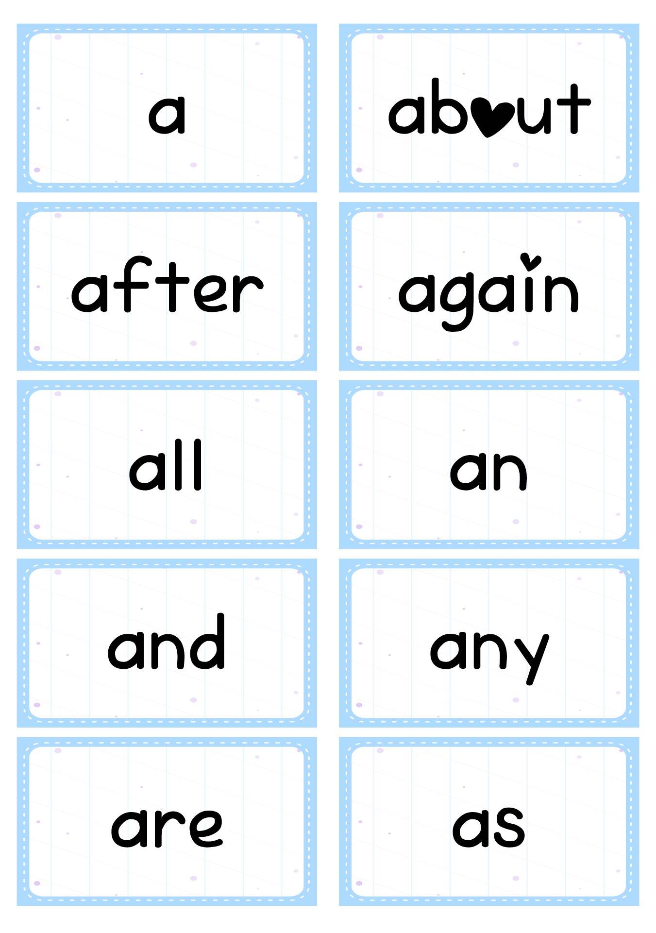 Handy image inside free printable kindergarten sight words