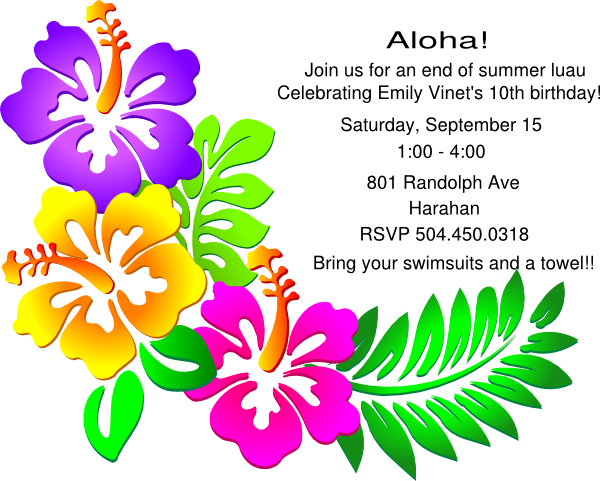 6 best images of luau clip art free printable free for Luau invitations templates free