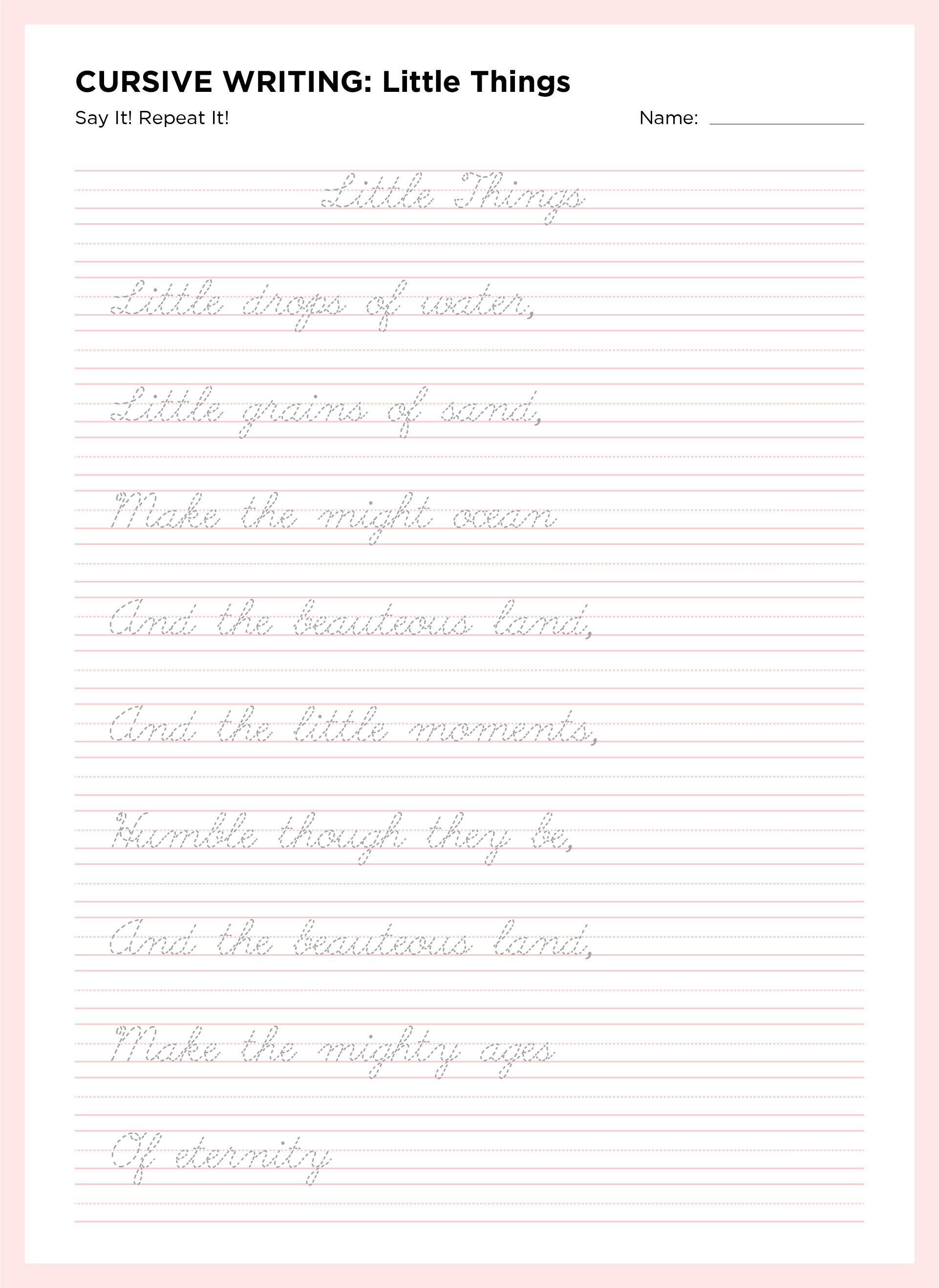 Manuscript Handwriting Practice