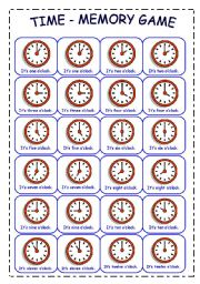 6 Images of Time Matching Game Printable