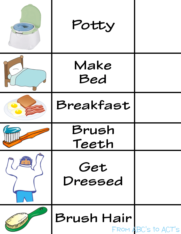 7 Images of Printable Morning Routine Visual Schedule