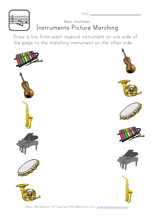Printables Instrument Worksheets For Preschool music worksheets davezan kindergarten davezan