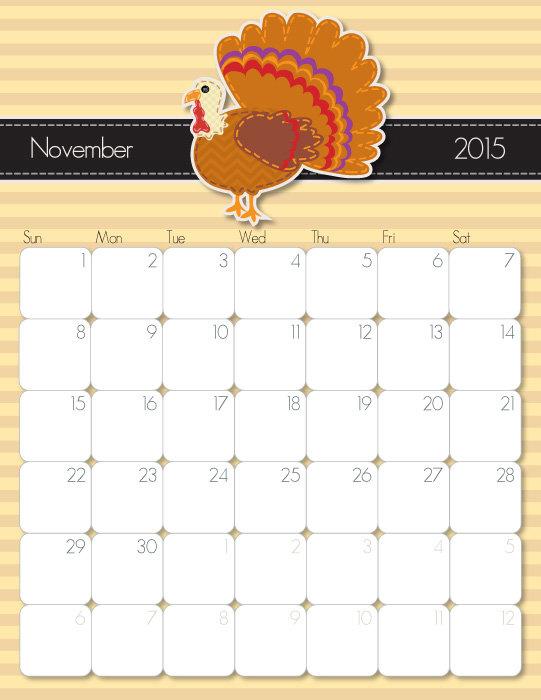 5 Images of Cute November 2015 Calendar Printable