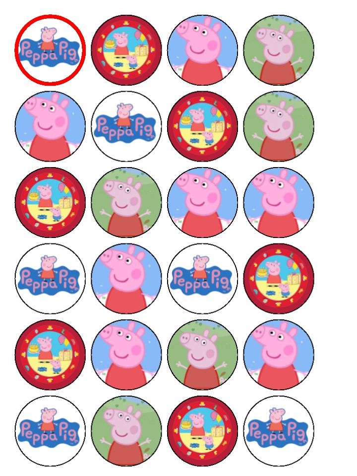 4 Images of Peppa Pig Cupcake Toppers Printable Free