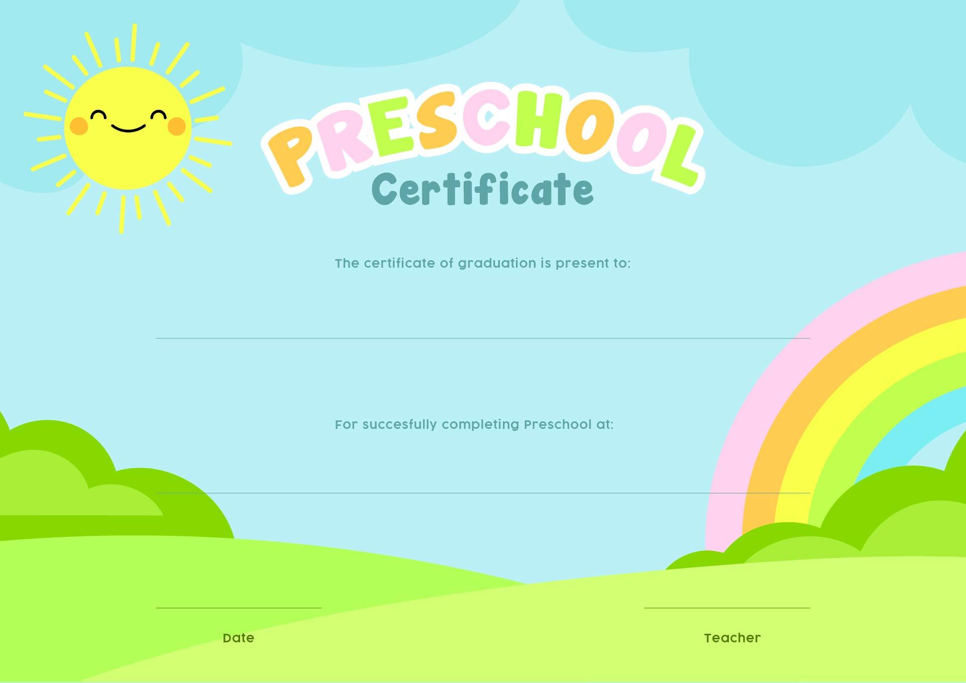Preschool Graduation Certificates Printables