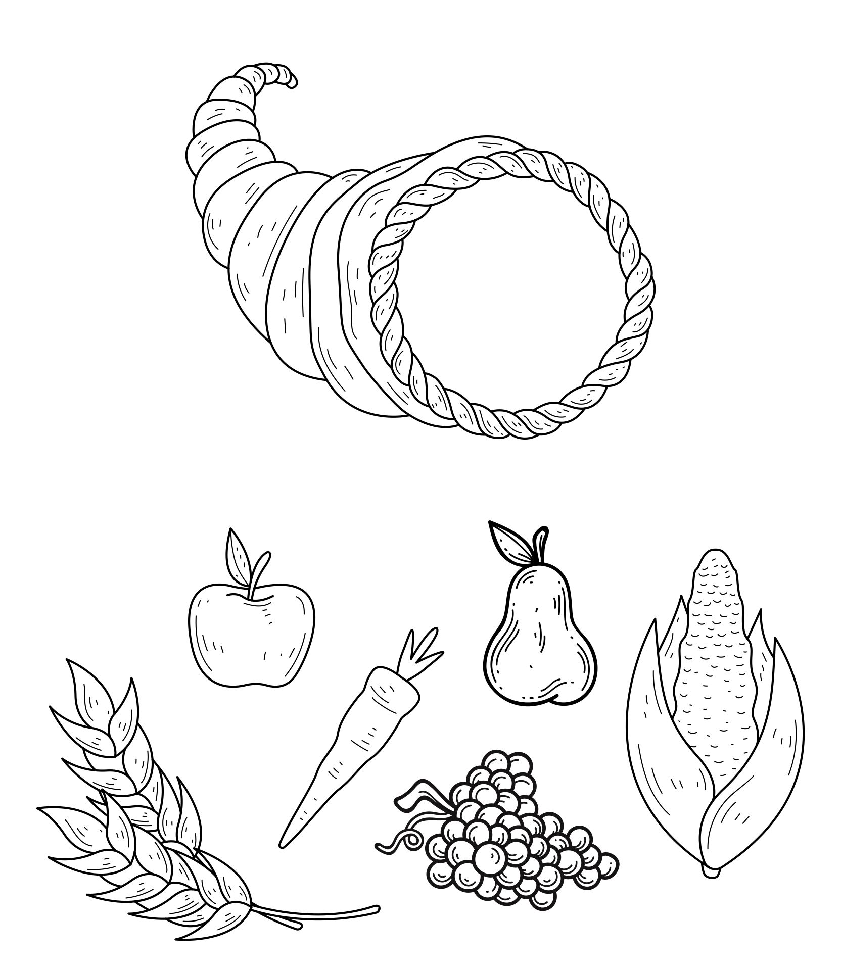 8 Images of Cornucopia Fruit And Vegetable Printables