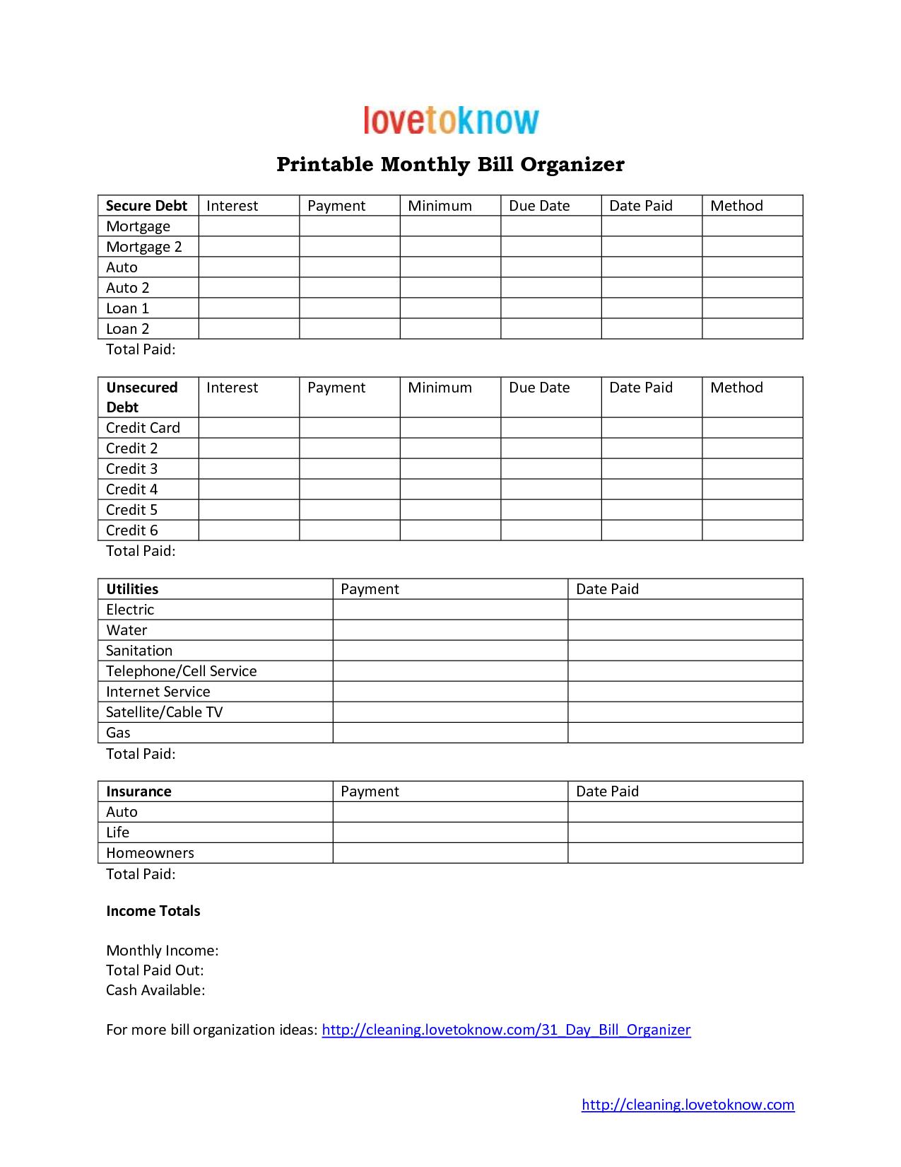 6 Images of Free Printable Bill Organizer Spreadsheet