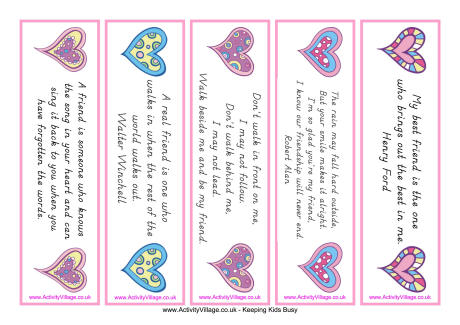 6 Images of Friendship Printable Bookmarks