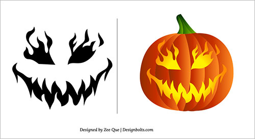 evil pumpkin face template - 5 best images of scary face pumpkin carving patterns