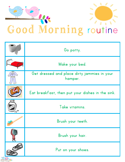 5 best images of morning and bedtime routine printables
