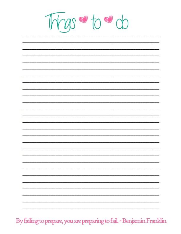 6 Images of Things To Do List Printable
