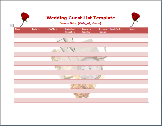 Wedding Invitations Guest List Templates - Wedding Invitation Ideas