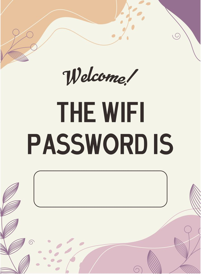 Wifi Password Guest Room Printable