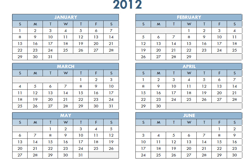 6 Images of Yearly Calendar Printable One Page