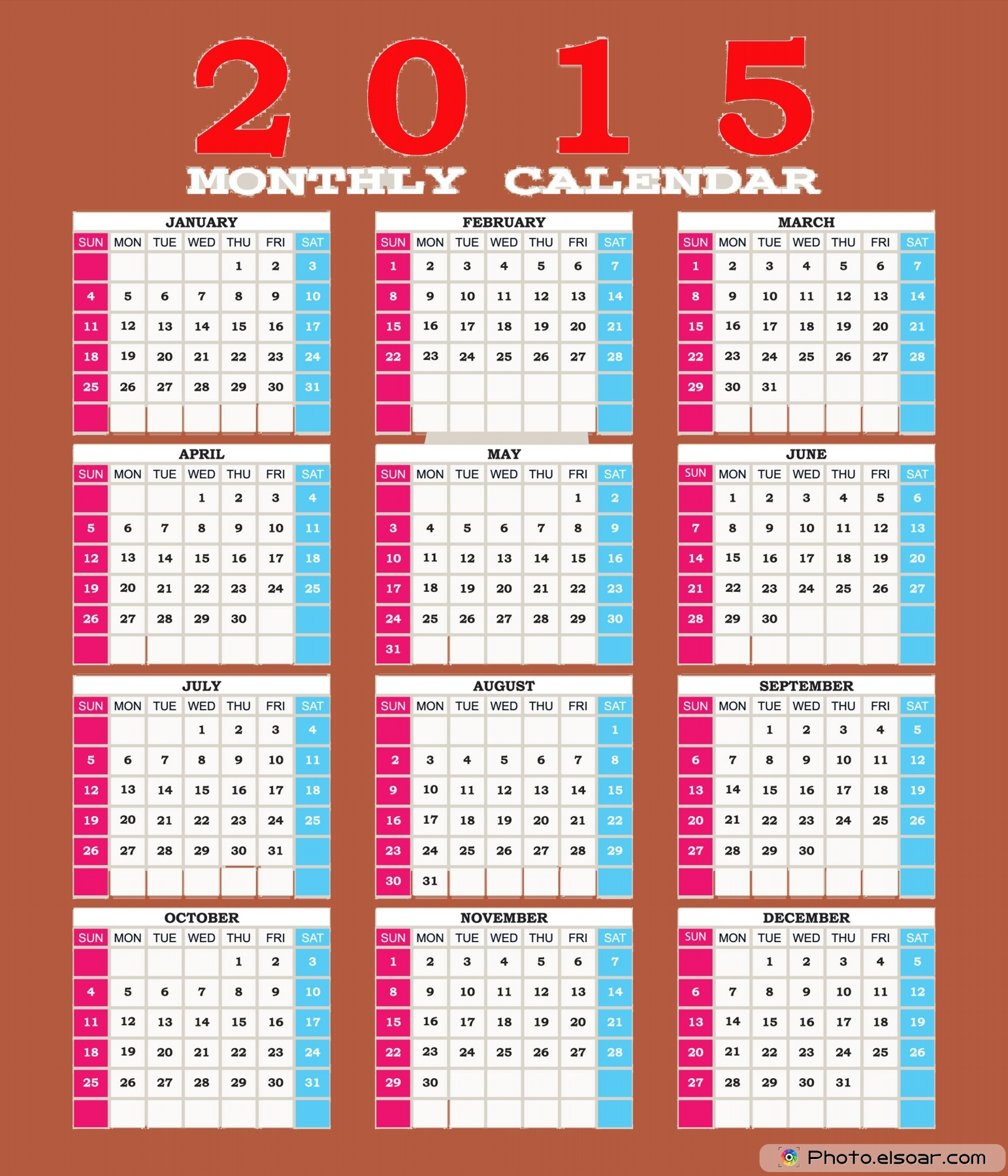 5 Images of 2015 Calendar Printable