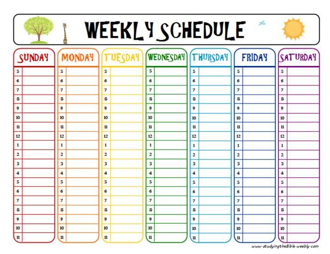 7 Images of Printable After School Schedule