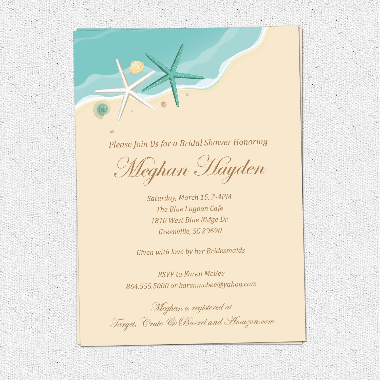 Beach Theme Bridal Shower Invitation Template