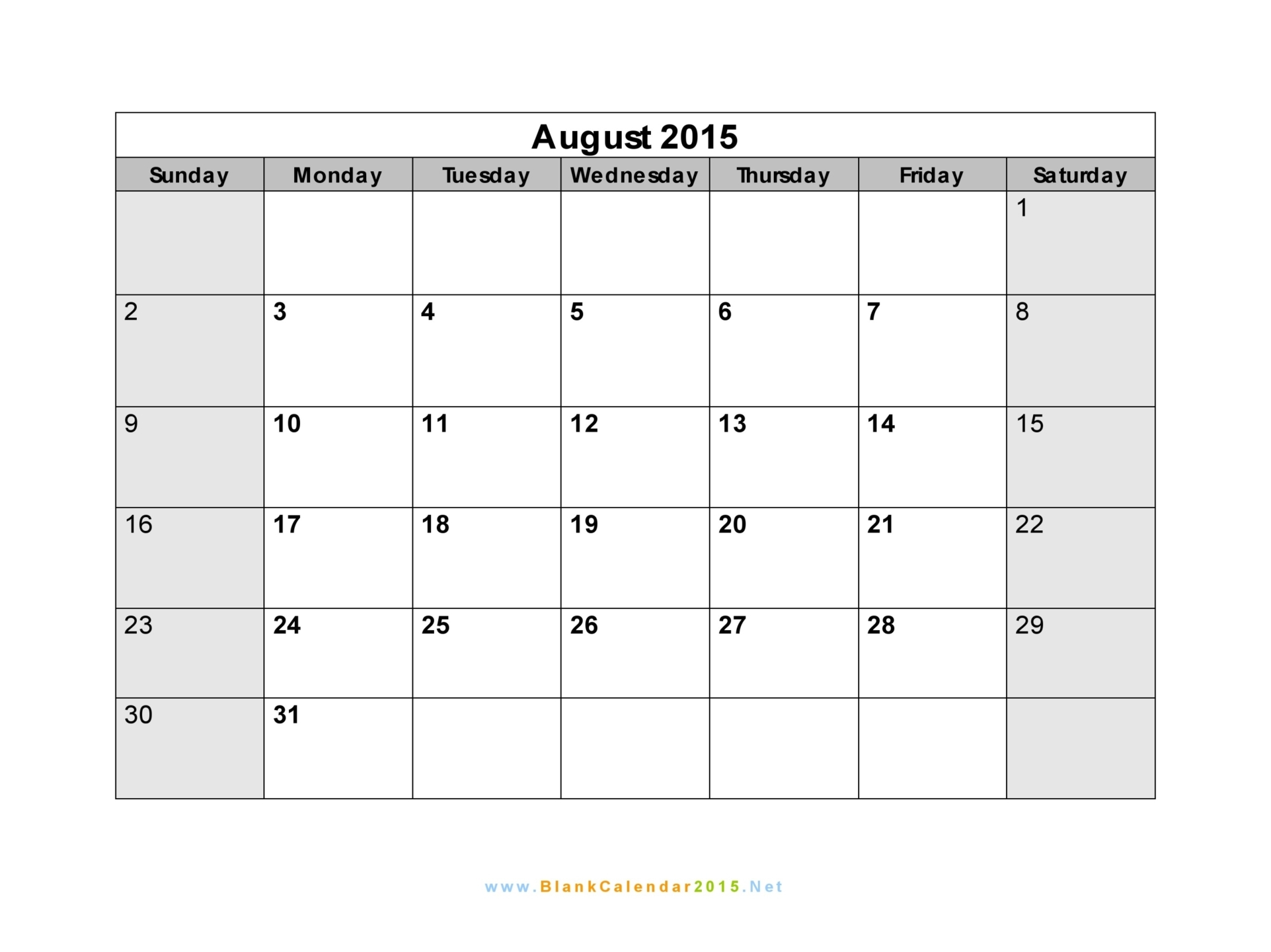 Blank Calendar August : Best images of aug calendar printable template