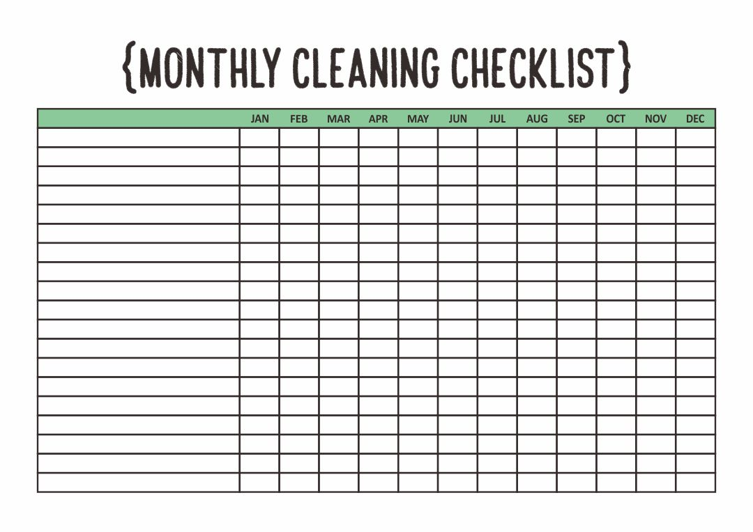 Blank Monthly Cleaning Checklist Printable